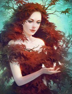 'Red Maple' by Selene | Selenada on deviantart | Digital Art / Drawings & Paintings / People / Fantasy