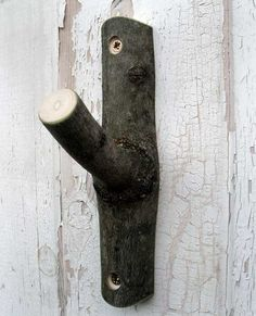Branch hook by artist Geoffery Fisher Wood Hooks, Hung Up, Autumn Trees, Hand Carved, Door Handles, Carving, Fisher, Artist, Garden Ideas