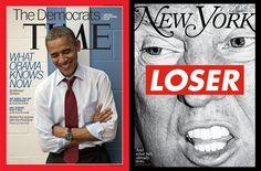 タイムマガジンの2012年9月10日号とニューヨークの雑誌の2016年選挙の問題、バーバラクルーガーによるアートワーク