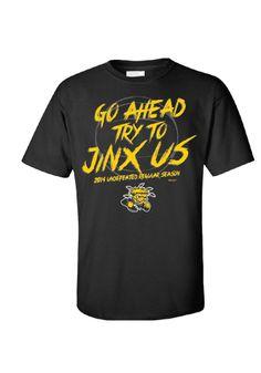 Wichita State Shockers T-Shirt - Black WSU Jinx Us Short Sleeve Tee http://www.rallyhouse.com/college/wichita-state-shockers/a/mens/b/clothing/c/t-shirts/d/short-sleeve?utm_source=pinterest&utm_medium=social&utm_campaign=Pinterest-WSUShockers $19.99