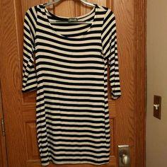 Black and white striped dress 3/4 length sleeves, mid-thigh Dresses Mini