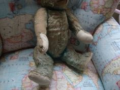 Rare-Vintage-Turquoise-Farnell-BLUE-Chiltern-Mohair-Teddy-Bear-17-034