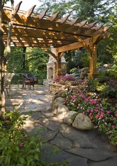 Arbor with outdoor fireplace