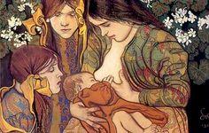 Macierzyństwo, 1905 – Stanisław Wyspiański, breastfeeding painting
