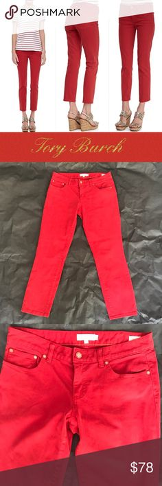 "TORY BURCH RED LOW RISE CROPPED SKINNY JEANS Denim.  Fitted through skinny legs; 13""leg openings. Approx. 27""inseam. Button/zip front; belt loops. Cotton/spandex. Imported.in excellent condition no flaws at all ! NO TRADES! Tory Burch Jeans Skinny"