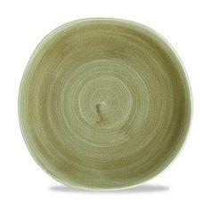 "Churchill Stonecast Patina Burnished Green Organic Round Plate 10.25"""