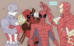 Captain America, Deadpool, Spider-Man and Iron