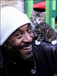 BBC News Danny John Jules, the Cat from Red Dwarf, with ... a cat :)