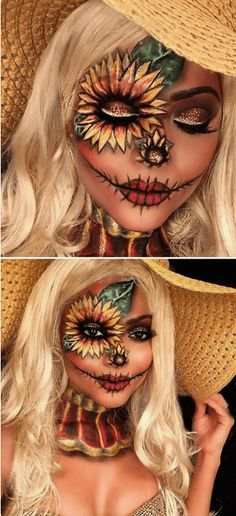 Find a collection of the best Halloween makeup ideas for those that want to achieve pretty Halloween makeup, not gory looks, such as this Cute Scarecrow Makeup | Pair these looks with any Halloween costumes for a seriously impressive outfit. There is something for everyone on this board: pretty Skeleton Halloween makeup, gorgeous Halloween makeup, princess Halloween makeup, mermaid Halloween makeup Inspo. #halloweenmakeup #prettyhalloween #halloweencostumes #halloweenmakeuppretty #halloweenmake Scarecrow Halloween Makeup, Halloween Makeup Looks, Cool Halloween Costumes, Women Halloween, Halloween Party, Halloween Decorations, Vintage Halloween, Outdoor Halloween, Halloween College