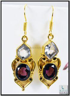 Smoky Quartz Crystal Gem 18 Kt Gold Platings Earrings L 1.5in Gpemul-5230 http://www.riyogems.com