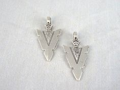 4- Silver Arrowhead Charms Antique Silver Double Sided Spear Native American Indian Weapon Relic Artifact Jewelry Making Supplies INV0485 by BuyDiy on Etsy