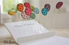 Luftballon Pop Up-Karte mit Sketched Birthday