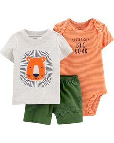 Crafted In Soft Cotton With Three Sweet Pieces In One, This Set Is Perfect For Mixing And Matching. Baby Set, Baby Basics, Niñas Carters Baby, Matching Friend, Lion Shirt, Striped Bodysuit, Bodysuit Shorts, Outfits Niños, Spring Shorts