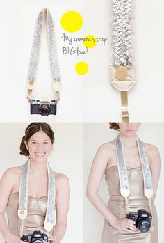 I LOVE this camera strap - would wear it as a belt! Sparkles and sequins that function! Check out other cut photog gear here...