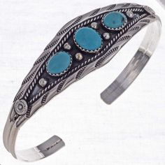 Turquoise Ladies Handmade Bracelet Navajo Silver Cuff