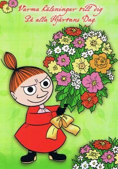 """Moomin, it's a Valentine card sent to me through Postcrossing by an older man above We both thought it was a hilarious """"joke"""". Tove Jansson, Moomin Books, Funny Jokes, Hilarious, Moomin Valley, Older Man, Little My, Blythe Dolls, Troll"""