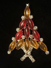 Rhinestone Christmas Tree Pin - Signed RON