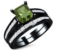 207ct green cushion cut diamond engagement ring bridal set 14k black gold - Green Lantern Wedding Ring
