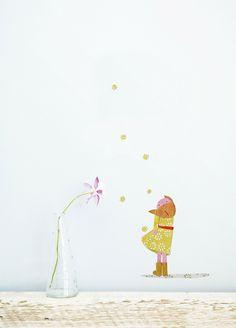 """Sticker mural décoratif """"Fille fleur"""" : Décoration pour enfants par des-petits-papiers"""