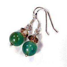 Fire Agate Gemstone Earrings Aqua Topaz Crystal Sterling Silver Dangle | Covergirlbeads - Jewelry on ArtFire