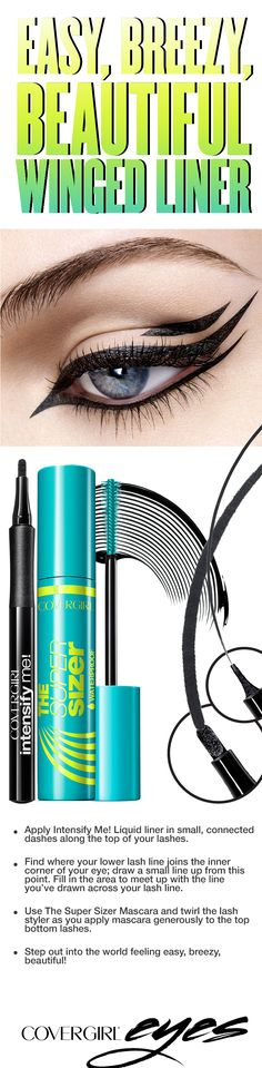 Try this step-by-step tutorial for a winged liner look, featuring COVERGIRL Intensify Me! Liquid Liner in Intense Black and The Super Sizer Mascara in Very Black. Makeup Tips, Eye Makeup, Hair Makeup, Makeup Ideas, All Things Beauty, Beauty Make Up, Boho Makeup, Dramatic Makeup, Makeup For Teens