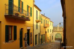 Smell of yellow - Little houses in San Leo, Rimini, Italy