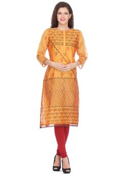 Readymade art chanderi silk long kurta in orange This quarter sleeve attire with cotton lining is designed with block print Its length is 44 inches