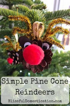These cute little pine cone reindeer Christmas decorations, are a cute craft for adults and children a like. Is simple and minimal materials needed. Christmas Hanukkah, Reindeer Christmas, Christmas Makes, Handmade Christmas Gifts, Holiday Crafts, Christmas Activities For Kids, Pine Cone Crafts, Crafty Kids, Crafts For Kids To Make