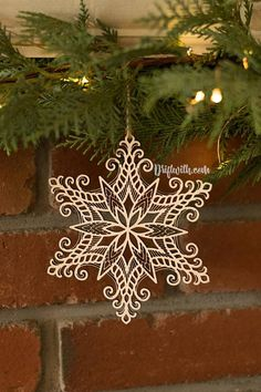 Lace Snowflake Laser Cut Wooden Christmas Ornament by Driftwith on Etsy