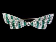 Art Deco Platinum Diamond & Emerald Bow Brooch