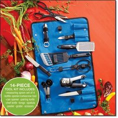 """14-Piece Cook's Traveling Tool Kit An array of cooking essentials in a convenient travel case. Nylon case, 21 1/2"""" L x 13 1/2"""" W. Tools of stainless steel and plastic. http://jgoertzen.avonrepresentative.com/"""