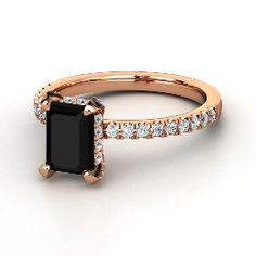 Reese Ring, Emerald-Cut Black Onyx Rose Gold Ring with Diamond from Gemvara