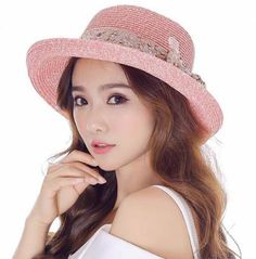95541f4d8a7 Crimping straw sun hat with sequins bow for girls summer beach hats