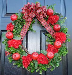 Apple Wreath Back to School Wreath for the Door by Casabellawreaths, $70.00