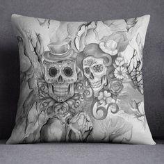 Lightweight Abstract Pencil Sketch Print Sugar Skull por InkandRags