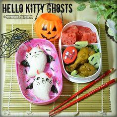レシピとお料理がひらめくSnapDish - - 👻Hello Kitty Ghosts👻 by Karenwee's Bento Diary Japanese Bento Box, Japanese Food Art, Bento Recipes, Bento Ideas, Kawaii Bento, Creative Food Art, Sushi Art, Bento Box Lunch, Cute Food