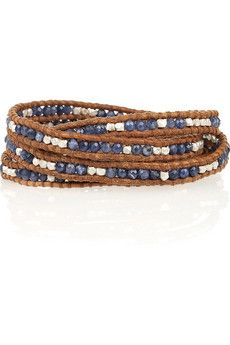 Chan Luu Silver and sodalite leather wrap bracelet | NET-A-PORTER