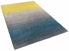 Dywan szaro-niebiesko-żółty - 80x150 cm - Shaggy - poliester - DINAR_303991