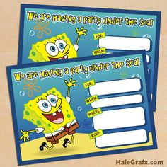 free spongebob invite FREE Printable Spongebob Squarepants Birthday Invitation