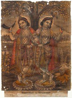 ilookatyourshoes:  kṛtavān kila karmāṇi  saha rāmeṇa keśavaḥ atimartyāni bhagavān gūḍhaḥ kapaṭa-mānuṣaḥ Lord Śrī Kṛṣṇa, the Personality of Godhead, along with Balarāma, played like a human being, and so masked He performed many superhuman acts. Srimad Bhagavatam 1.1.20  Krishna & Balaram hand colored print c. 1880