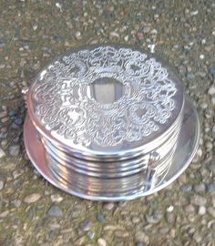 SET OF 6 VINTAGE SILVER PLATED ENGRAVED COASTERS WITH CADDY/BOTTLE COASTER