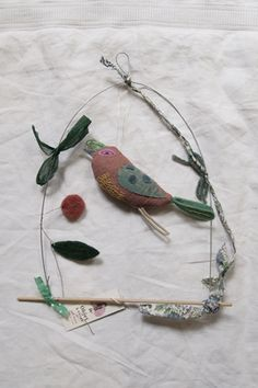 embroidered fabric bird on swing - apolline a paris