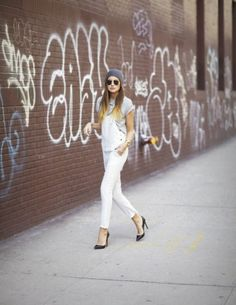 041029902c87e Street Style  Overalls + Pumps Grown Up Chic Dungarees Heels Beanie Aviator  Sunglasses Grey Gray Heather Tee Tshirt White Overalls Gold Watch