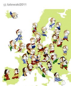 Hetalia Europe... A+ for putting Czech republic here<<<I bet Iceland's happy being away from Norway