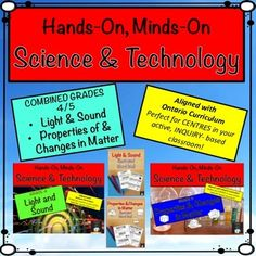 MEGA BUNDLE! Perfect for COMBINED/SPLIT GRADES!Looking for Hands On, Minds On Science and Technology centres? These Light and Sound and Properties of and Changes in Matter centres are low prep and easy to implement. Just print and laminate all of the student instruction cards for use year after year.