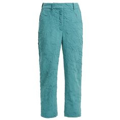 Sies Marjan Willa crinkled wool-blend trousers (940 CAD) ❤ liked on Polyvore featuring pants, blue, loose pants, crinkle pants, loose fit pants, cut loose pants and loose fitting pants