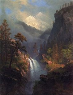 Cascading Falls at Sunset by Albert Bierstadt Hand Painted Oil Painting is part of Oil painting Sunset - Albert Bierstadt Cascading Falls at Sunset hand painted oil painting reproduction on canvas by artist Fantasy Landscape, Landscape Art, Landscape Paintings, Landscape Lighting, Albert Bierstadt Paintings, Munier, Waterfall Paintings, Painting Still Life, Oil Painting Reproductions