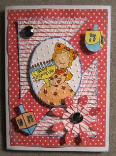 Sweet Handmade Hanukkah Card with A Dearie by Beadlady5CardDesigns, $4.25