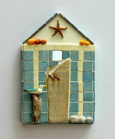 Orange Shells Beach Hut Mosaic Wall Art