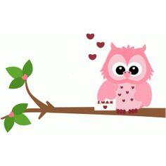 Silhouette Design Store - View Design #54125: woodland love owl valentines